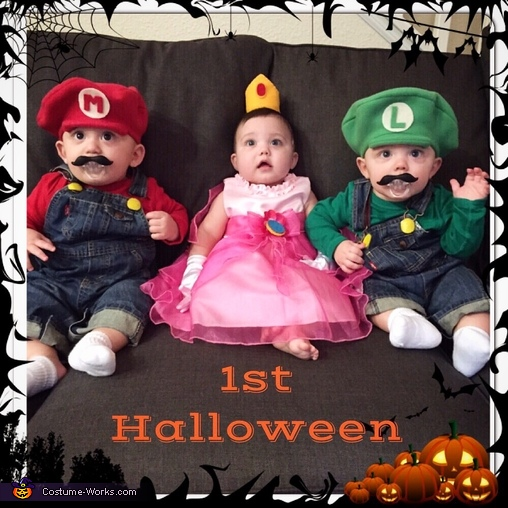 Mario, Luigi, and Princess Peach Baby Costume