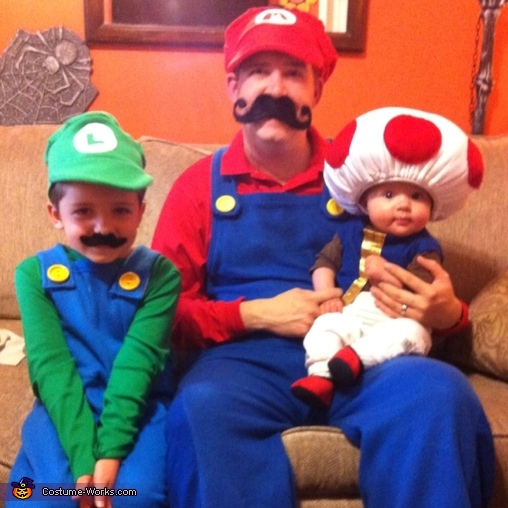 Mario, Luigi and Toad Family Costume