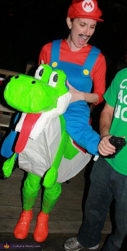 Ow! Let go of my foot! , Mario Riding Yoshi Costume