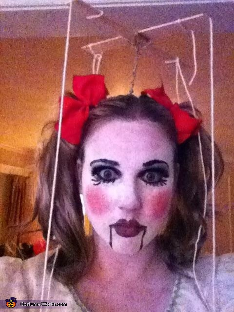 My make-up took awhile, Marionette Doll Costume