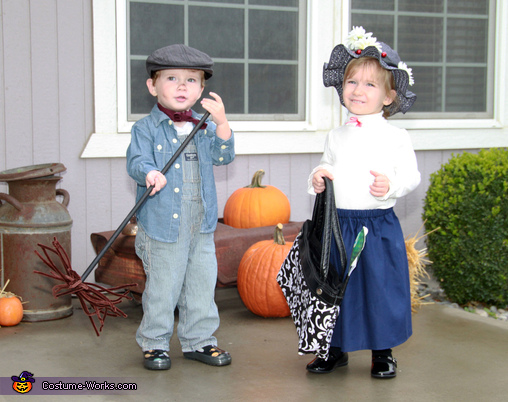 Mary Poppins and Bert the Chimney Sweep - Homemade costumes for babies
