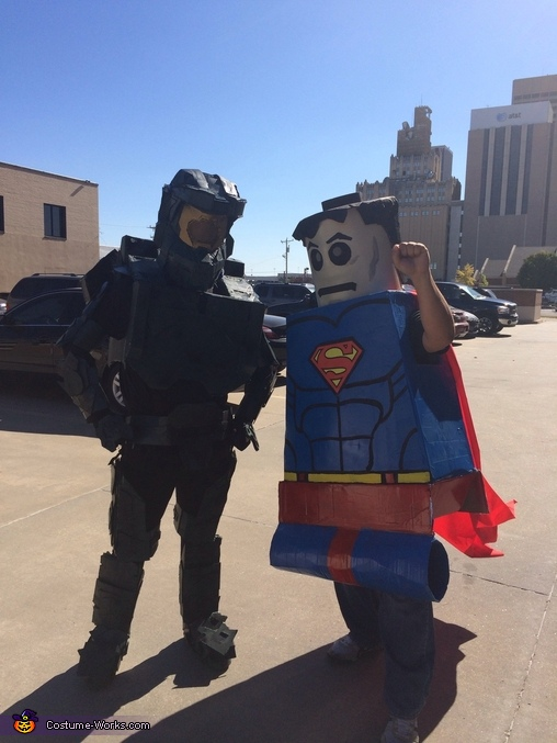 Meeting with friends downtown for a walkabout. (I created superman last year in this pic), Master Chief Costume