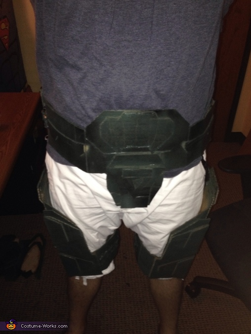 Test fitting the legs and belt system, Master Chief Costume