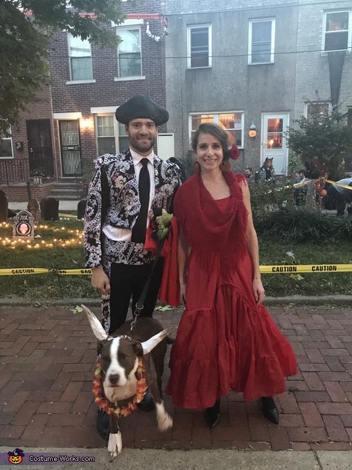 Matador, Flamenco dancer, and fleeing Ferdinand the bull, Matador, Bull, and Flamenco Dancer Costume