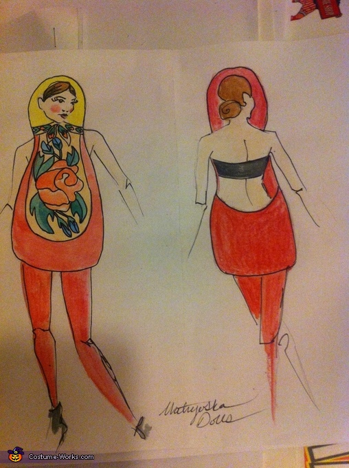 sketch of costume, Matryoshka Dolls Costumes