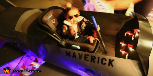 Maverick in his jet getting ready for takeoff, Maverick's F14 Tomcat Fighter Jet Costume