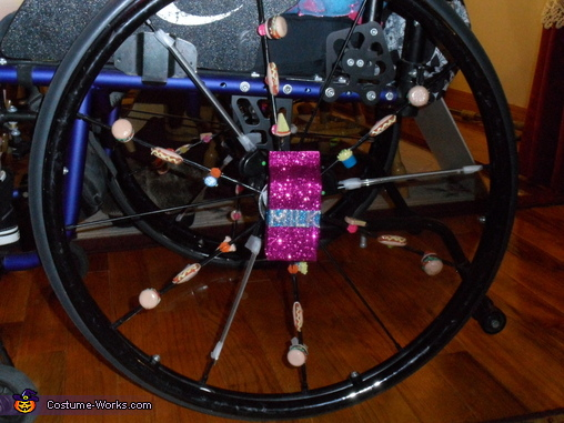 My SHISH KABOB wheelchair tires - made with spoke beads and food erasers. , Meals on Wheels Wheelchair Costume