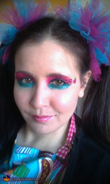 Watermelon inspired makeup, Meals on Wheels Wheelchair Costume