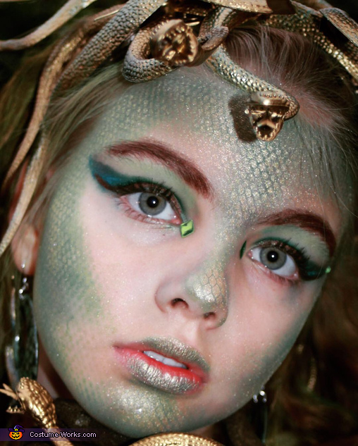 Closeup of makeup, Medusa Costume