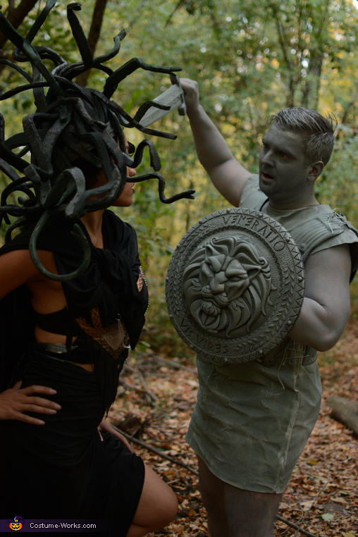 Stone man is no match for Medusa, Medusa and Stone Man Costume