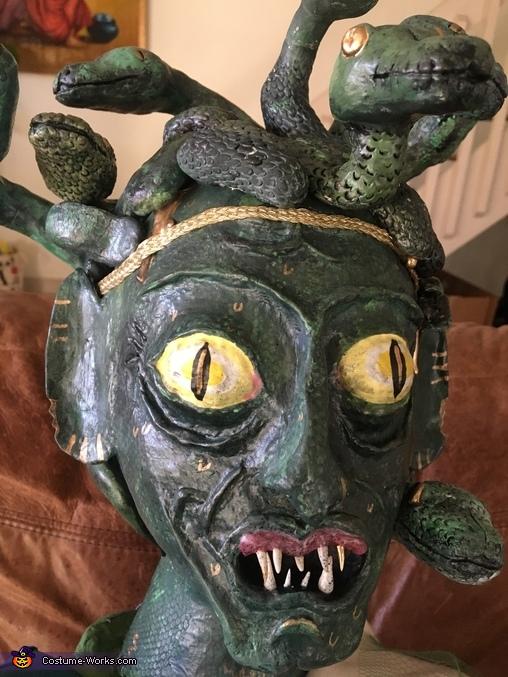 Medusa's head closeup, Medusa holding Head of Statue Costume