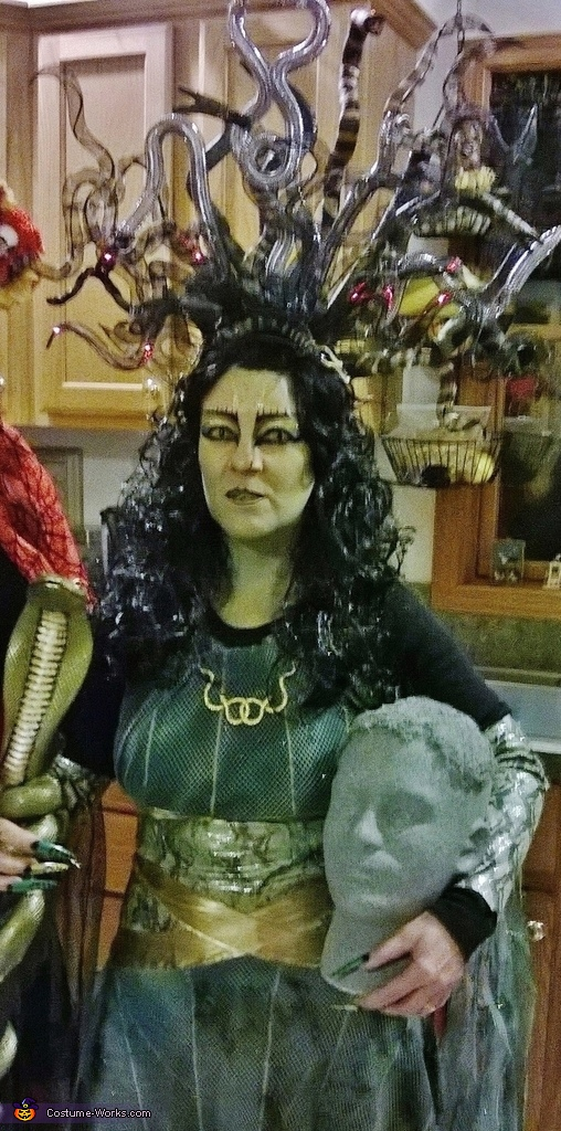 Me with my snake staff and stone head!, Medusa Queen Costume