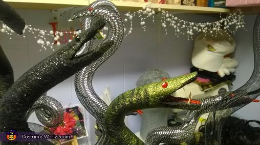 snake heads from styrofoam, Medusa Queen Costume