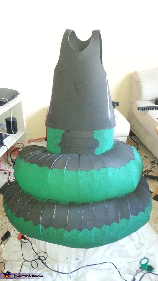 first coat of paint-snake, Medusa with Snake Body Costume