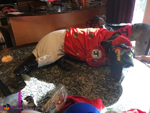 Penny At A Costume Fitting, Megabucks the Racehorse & her Jockey Penny Costume