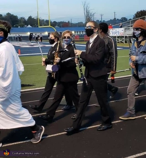 One of my friends mom took this when we were marching in. Our band instructor let us march side by side even though we had different instruments and there were three of us., Men In Black (Women In Black) Costume