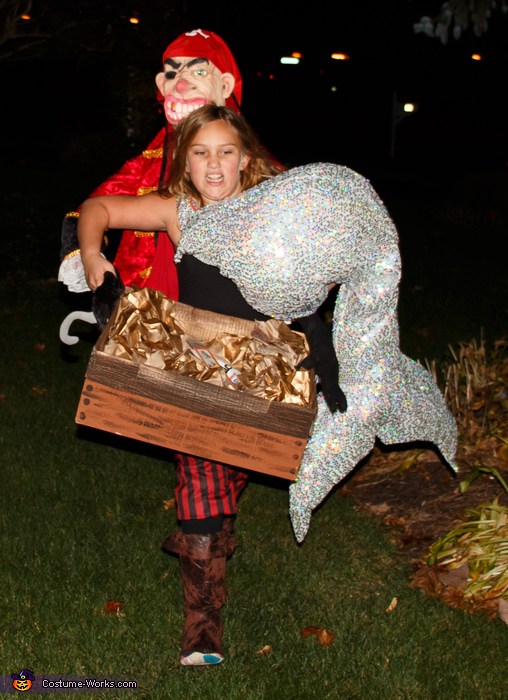 Mermaid trying to keep up with brothers while trick-or-treating, Mermaid Treasure Costume