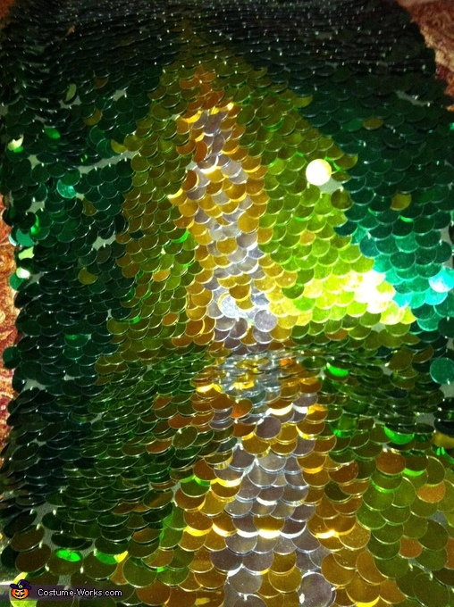 The sequins (paillettes) that were individually hand sewn on., Mermaid Costume