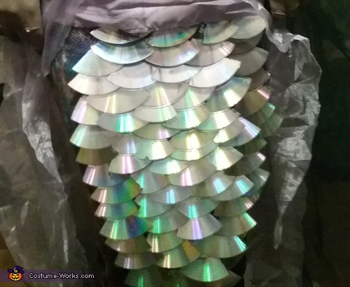 Close-up of the CD fish scales, Mermaid Queen Costume