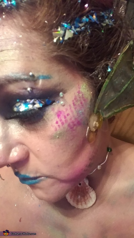CD glitter and onion bag stenciling, Mermaid Queen Costume
