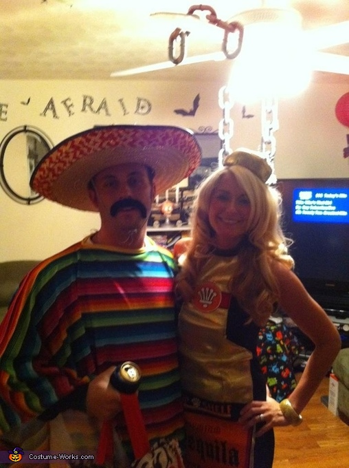 Mexican and his Tequila Bottle Couple Costume