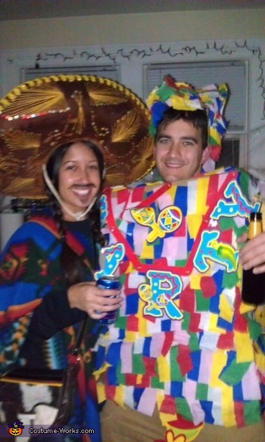 Close up of us, Mexican and Pinata Costumes