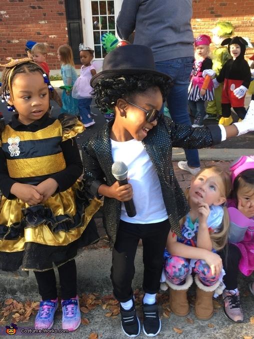 Pretending to perform for her classmates, Michael Jackson Costume