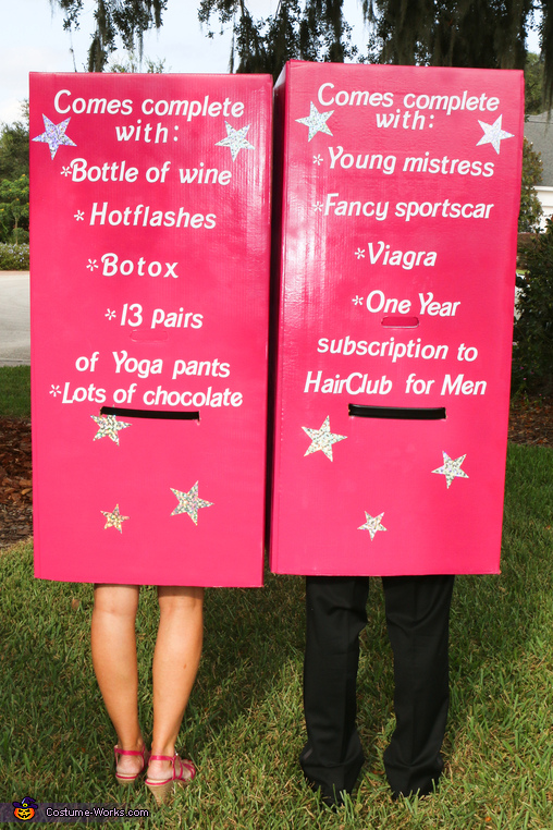 Back View of the Barbies, Middle-Aged Barbie and Mid-Life Crisis Ken Costume
