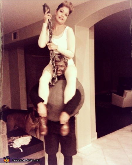 Miley Cyrus riding her Wrecking Ball Couple's Costume
