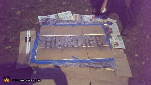 Cardboard Stencil, Miller High Life Beer Can Costume
