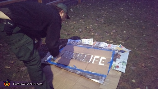 Doug spray painting , Miller High Life Beer Can Costume