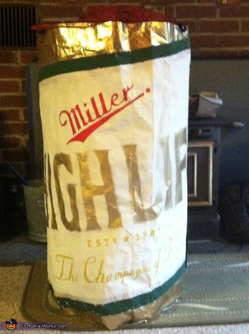 Miller High Life Beer Can Close up, Miller High Life Beer Can Costume