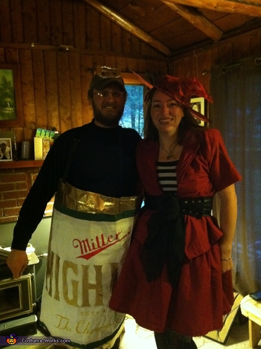 Miller High Life Beer Can and Miller Girl together, Miller High Life Beer Can Costume
