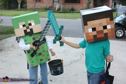 my son (green) with his friend in a store-bought Minecraft costume, Minecraft Costume