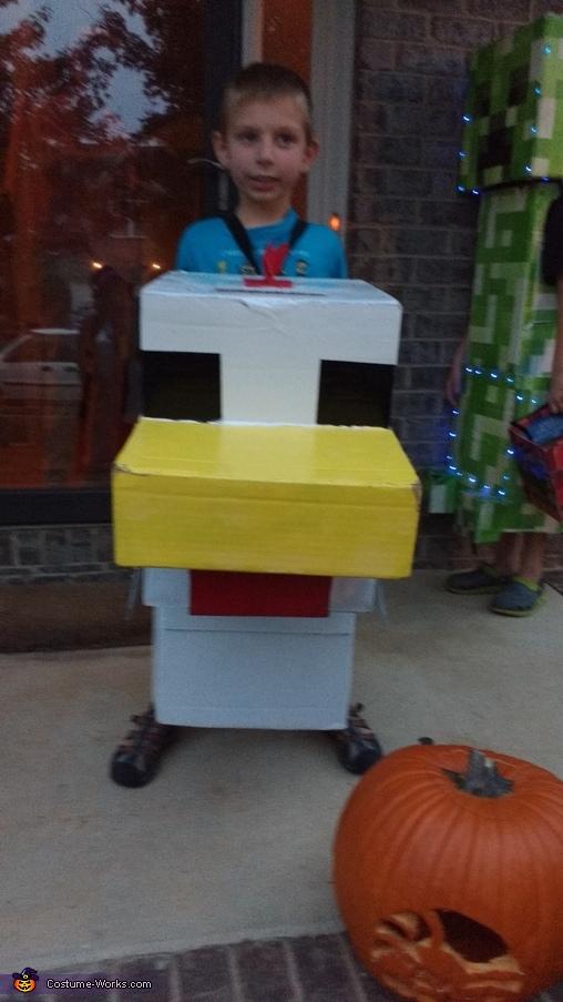 Front view of our chicken, Minecraft Chicken Costume