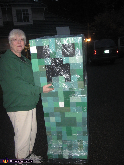 With Grandma to show size., Minecraft Creeper Costume