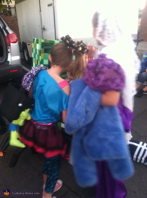 Swarmed by the teen girls hugging him!, Minecraft Boys Costume Creeper riding a Spider