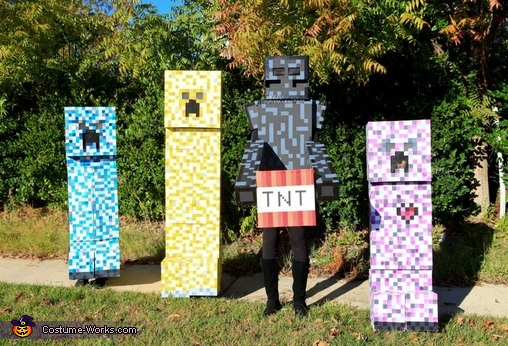 3 creepers and an Elemental, Minecraft Creepers and Enderman Costume