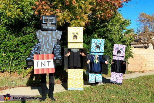 With their doors open and ready for candy., Minecraft Creepers and Enderman Costume