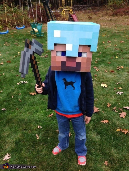 Completed helmet, Minecraft Diamond Armor Steve Costume