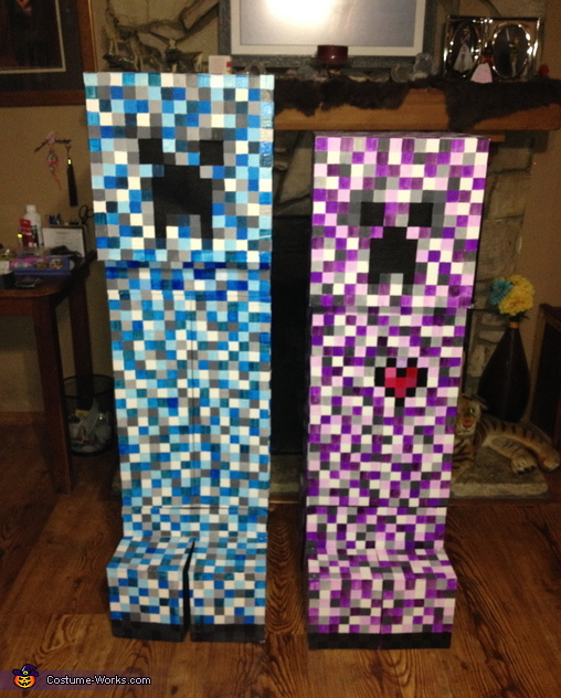 The two finished costumes side by side., Minecraft Elemental Creepers Costume