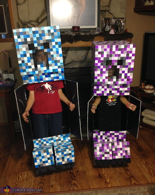 How to get your candy.. by exploding and opening the doors on the front to receive their candy., Minecraft Elemental Creepers Costume