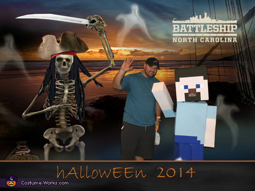 Colton and Dada at 'Battleship Blast', Minecraft Steve Costume