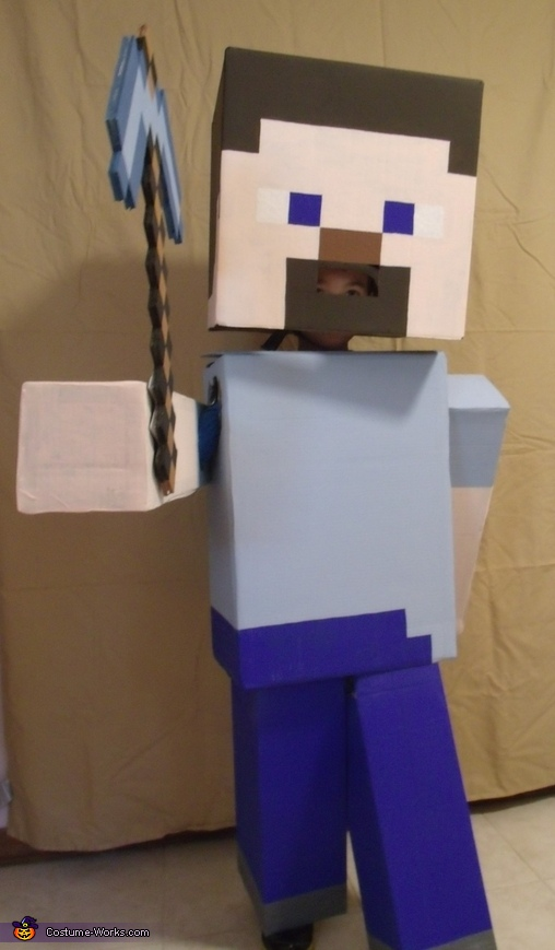 Colton as Minecraft Steve 'Comin at Ya', Minecraft Steve Costume