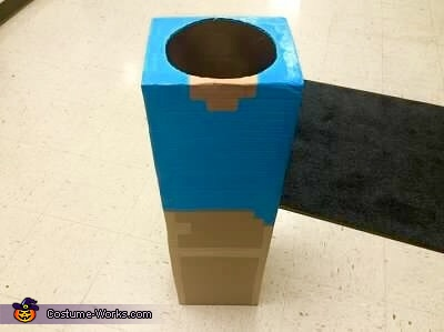 Painting body and legs..., Minecraft Steve Costume