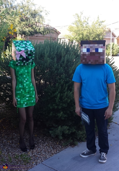 Minecraft Steve and Creeper Homemade Costumes