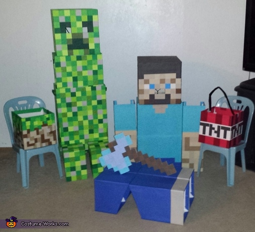 Minecraft Steve & Creeper Homemade Costumes