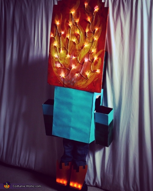 Minecraft Zombie on Fire Homemade Costume