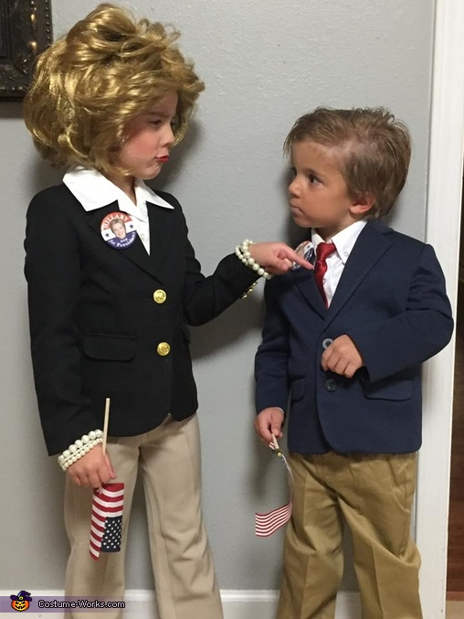 Mini Hillary and Donald Homemade Costume