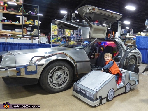 Mini Marty and the real DeLorean., Mini Marty McFly Costume